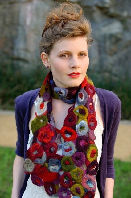 Felted scarf by Ngaire Wills, New South Wales, Australia. Workshops available.