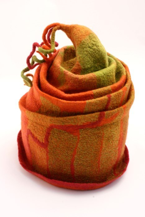 Felt Hat by Sue Eslick, Perth, Western Australia. Using Mumbia wool and tissue silk fabric