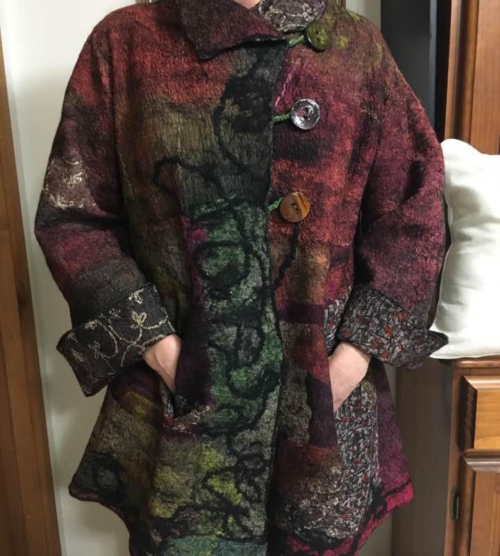 Stephanine Gatson, South Australia. Nuno felted Swing Jacket with Paj and Silk Mesh fabrics