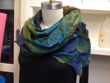Genielle Phillips, Victoria, Australia. Nuno felted Silk Mesh in Sea Grass Colour Harmony