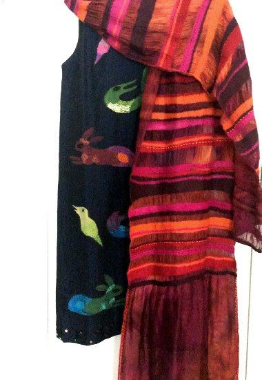 Nuno felted Stripe Scarf/Wrap on Silk Mesh by Tanja Gawin, Victoria, Australia