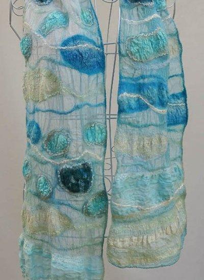 Alana Preece, Adelaide, South Australia; www.alanapreece.com; Nuno felt scarves and wraps using Treetops fabric and fibre (with upcycled fabric inclusions)