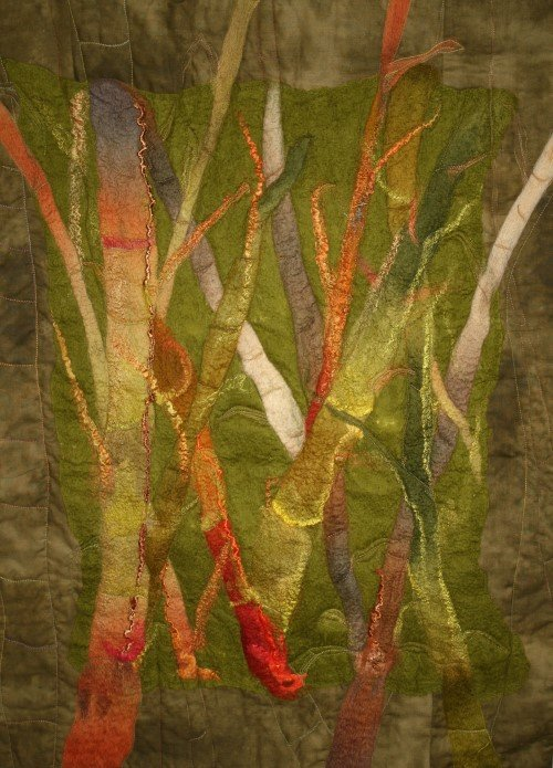 Felted, machine embellished and quilted with silk hankies and wool by Julie Tasker, Queensland. Contact Treetops for artist details.