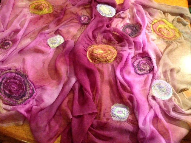 """Nuno felted wrap in Tissue Silk fabric """"Infusion"""" with silk hanky flowers by Leonie Saunders, New South Wales, Australia"""