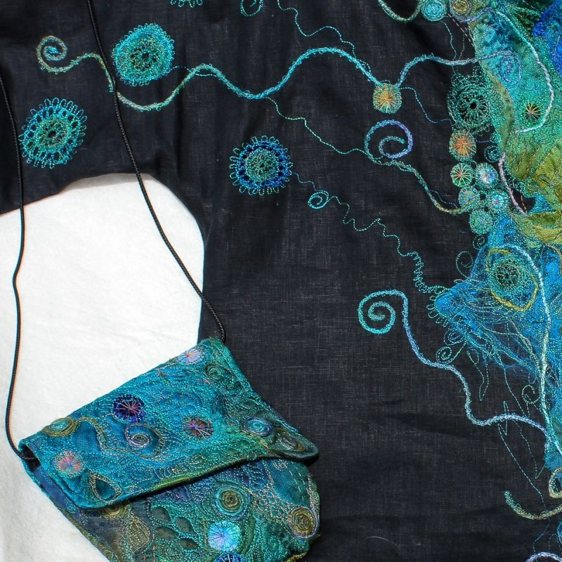 Michelle Mischkulnig, Victoria, Australia. Machine embroidery onto our Silk Mesh fabric, with silk tops and various other materials. FB: https://www.facebook.com/Chelle.Textiles/  website: http://www.chelletextiles.com.au